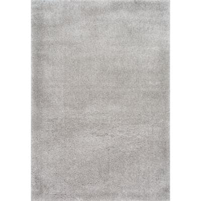 Gynel Solid Shag Silver 3 ft. x 5 ft. Area Rug