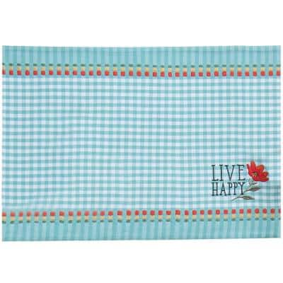 Blooming Thoughts 19 in. x 13 in. Blue and White Embroidered Cotton Gingham Placemats (Set of 4)