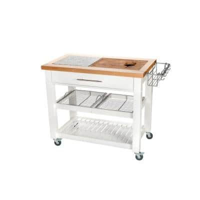 Pro Chef White Kitchen Cart With Chop and Drop System