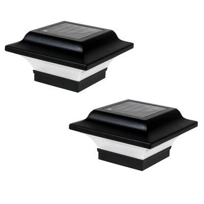 Imperial 2.5 in. x 2.5 in. Outdoor Black Cast Aluminum LED Solar Post Cap (2-Pack)
