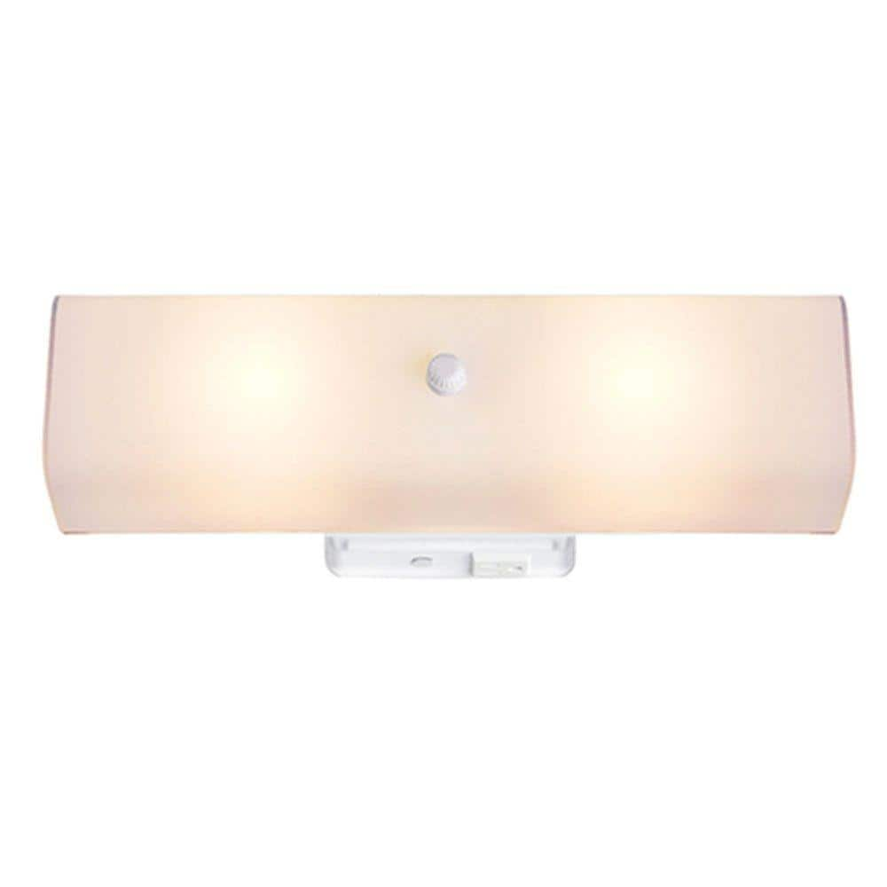 Hampton Bay Adeliade 14 In 2 Light White Bath Vanity Light With Glass Shade Rs190305 The Home Depot