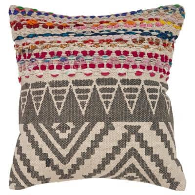 Bohemian Multicolored Geometric Hypoallergenic Polyester 18 in. x 18 in. Throw Pillow