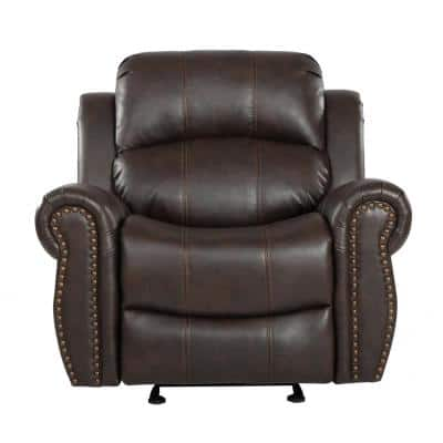 Gavin 39 in. Width Big and Tall Dark Brown Faux Leather Nailhead Trim Wall Hugger Recliner