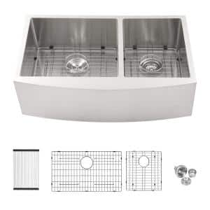 16-Gauge Stainless Steel 33 in. Double Bowl 60/40 Farmhouse/Apron-Front Kitchen Sink