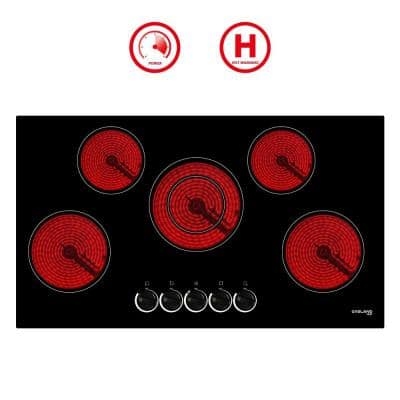 36 in. Electric Cooktop, Built-In Radiant Electric Cooktop in Black with 5 Elements and Mechanical Knob
