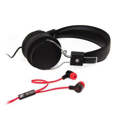 2-in-1 Combo Pack Stereo Headphones and Earphones in Black/Red