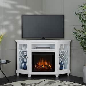Lynette 56 in. Corner Electric Fireplace in White