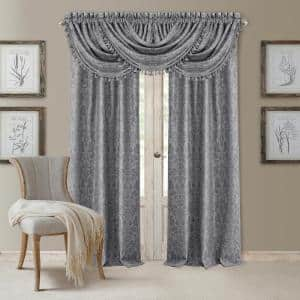 Silver Damask Blackout Curtain - 52 in. W x 95 in. L