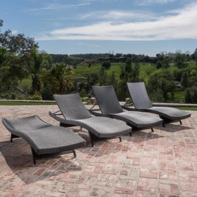 Miller Multi-Brown 4-Piece Wicker Adjustable Outdoor Chaise Lounge