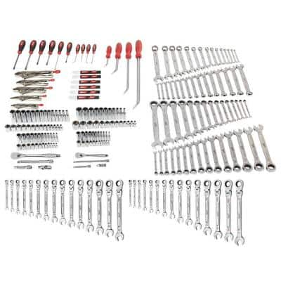 Mechanics Tool Set with SAE and Metric 144-Position Flex-Head Ratcheting Combination Wrenches (221-Piece)