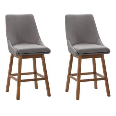 Boston 26 in. Light Grey Formed Back Wood Counter Height Fabric Barstool (Set of 2)