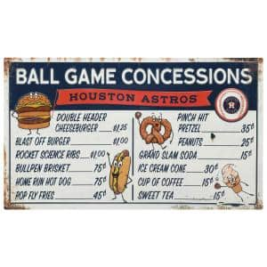 Houston Astros Ball Game Concessions Metal Sign