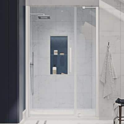 Pasadena 48 in. L x 36 in. W x 72 in. H Alcove Shower Kit with Pivot Frameless Shower Door in Chrome and Shower Pan