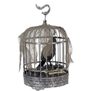 10 in. Animated Talking Raven in Cage with LED Illumination