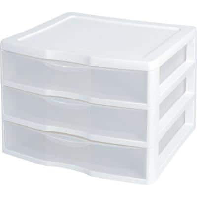 White and Clear Countertop 3-Drawer Desktop Storage Unit (12 Pack)