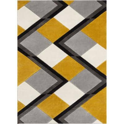 Good Vibes Nora Gold Modern Geometric Stripes and Boxes 5 ft. 3 in. x 7 ft. 3 in. Area Rug