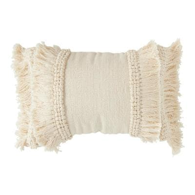 Cream Cotton and Chenille Woven Lumbar 24 in. x 16 in. Throw Pillow