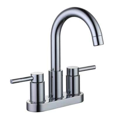 Dorind 4 in. Centerset 2-Handle High-Arc Bathroom Faucet in Chrome