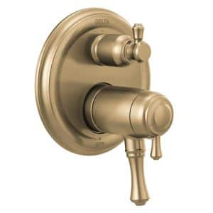 Cassidy 2-Handle Wall-Mount Valve Trim Kit with 3-Setting Integrated Diverter in Champagne Bronze (Valve not Included)