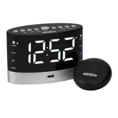 Black AM/FM Alarm Clock Radio with Wireless Under Pillow Vibrator