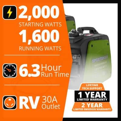 2,000/1,600-Watt Recoil Start Gasoline Portable Inverter Generator Kit