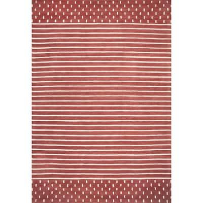Marlowe Stripes Rust 5 ft. x 8 ft. Indoor Area Rug