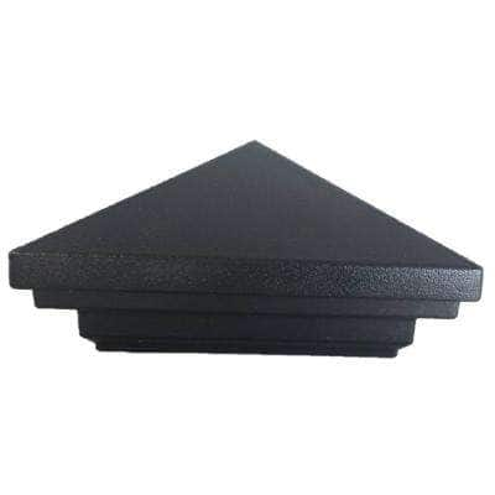 4 in. x 4 in. Black Textured Aluminum Pyramid Top Modular Post Cap for Wood Post