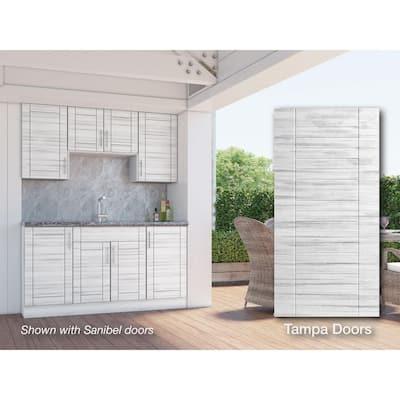 Tampa Whitewash 22-Piece 67.25 in. x 84 in. x 25 in. Outdoor Kitchen Cabinet Set