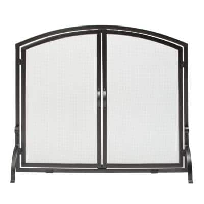 Black Wrought Iron 39 in. W Single-Panel Durable Fireplace Screen with Doors and Heavy Guage Mesh