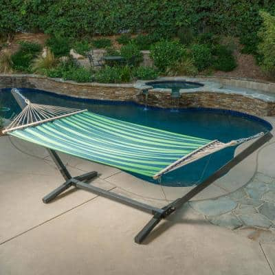 Aspen 6.5 ft. Portable Quilted Hammock Bed with Stand in Grey, Blue and Green
