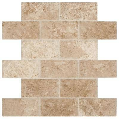 Montagna Cortina Avorio 12 in. x 12 in. x 6.35 mm Ceramic Brick Joint Mosaic Wall Tile (0.83 sq. ft./Each)