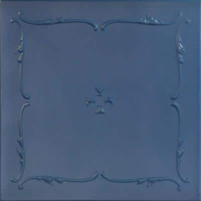 Spring Buds 1.6 ft. x 1.6 ft. Glue Up Foam Ceiling Tile in Van Deusen Blue