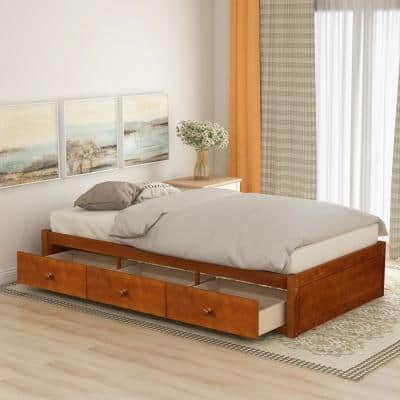 Oak Twin Size Platform Storage Bed with 3-Drawers