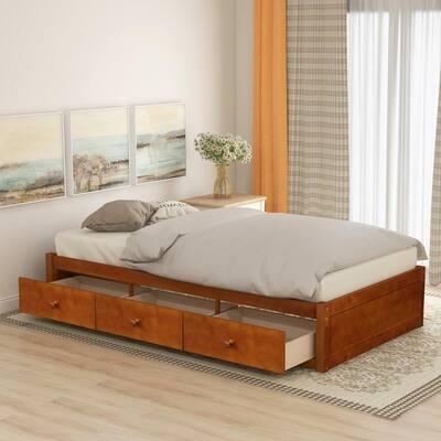 Oak Twin Size Platform Storage Bed with 3-Drawers