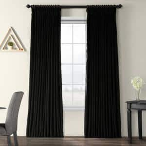 Black Velvet Rod Pocket Blackout Curtain - 100 in. W x 120 in. L
