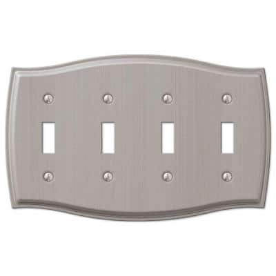 Vineyard 4 Gang Toggle Steel Wall Plate - Brushed Nickel