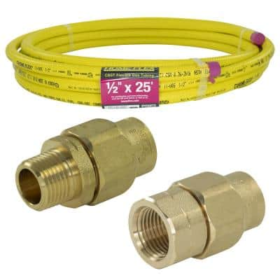 1/2 in. x 25 ft. CSST MPT/FPT Connection Kit (1) 1/2 in. MPT Male Adapter (1) 1/2 in. FPT Female Adapter (1) CSST Pipe