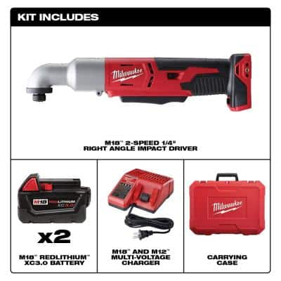 M18 18-Volt Lithium-Ion Cordless 1/4 in. Hex 2-Speed Right Angle Impact Driver W/(2) 3.0Ah Batteries, Charger, Hard Case