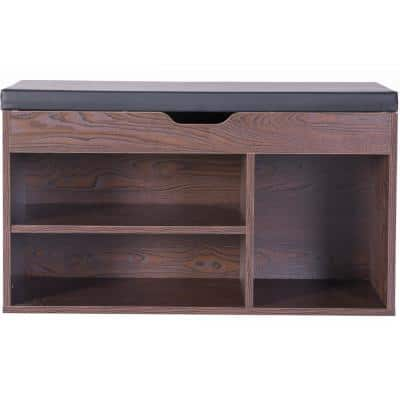 31.5 in. W x 18 in. H MDF 5-Pair Brown Entryway Storage Shoe Rack with Top Seat