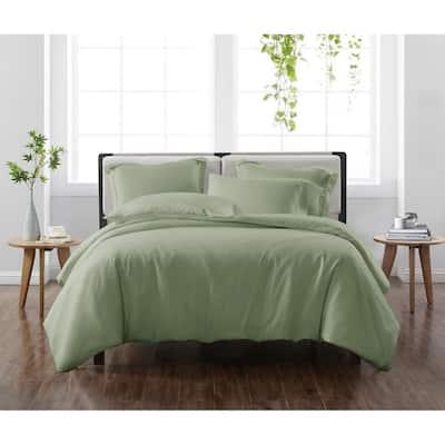 Solid Green Full/Queen 3-Piece Duvet Cover Set