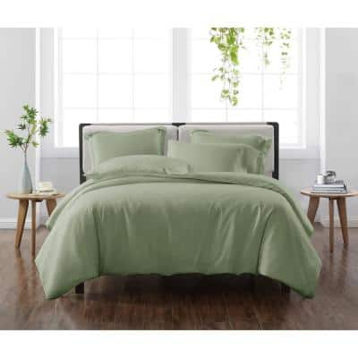 Solid Green Twin/Twin XL 2-Piece Duvet Cover Set