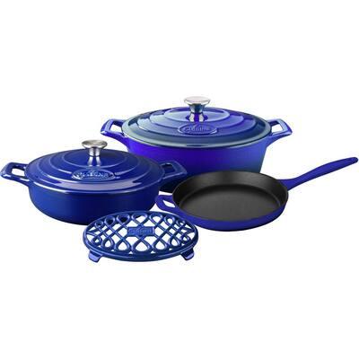 PRO Range 6-Piece Cast Iron Cookware Set in High Gloss Sapphire
