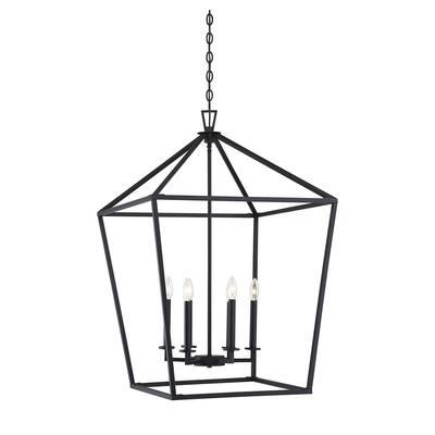 6-Light Matte Black Pendant