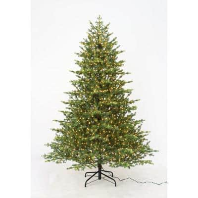 7.5 ft Elegant Grand Fir LED Pre-Lit Artificial Christmas Tree with 2000 Warm White Micro Dot Lights