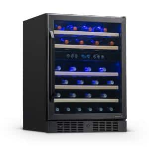 Dual Zone 24 in. 46-Bottle Built-In Wine Cooler Fridge with Quiet Operation & Beech Wood Shelves - Black Stainless Steel