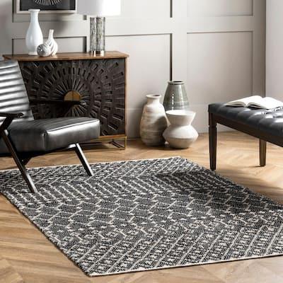 Hartford Leather Black 9 ft. x 12 ft. Moroccan Indoor Area Rug