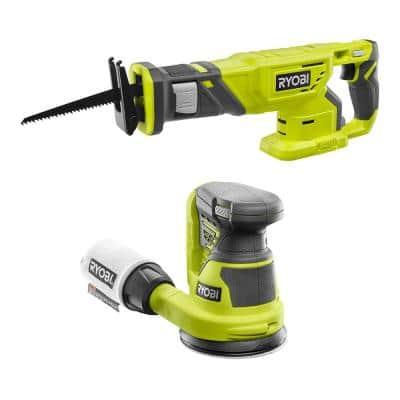 ONE+ 18V Cordless 2-Tool Combo Kit with Reciprocating Saw and 5 in. Random Orbit Sander (Tools Only)
