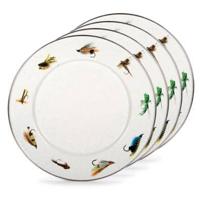 Fishing Fly 10.5 in. Enamelware Round Dinner Plates (Set of 4)