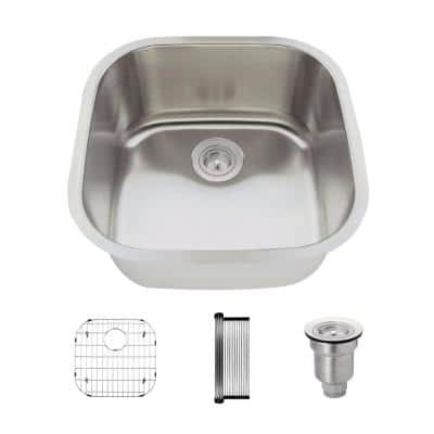 Undermount Stainless Steel 20 in. Single Bowl Kitchen Sink Kit