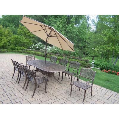 11-Piece Aluminum Outdoor Dining Set and Beige Umbrella